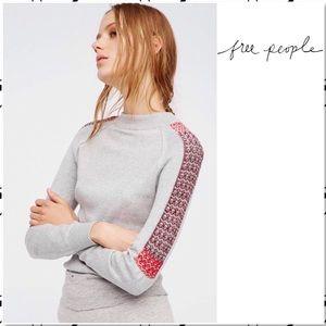 Free People Raspberry Jam Mock Neck Knit Tee Top M